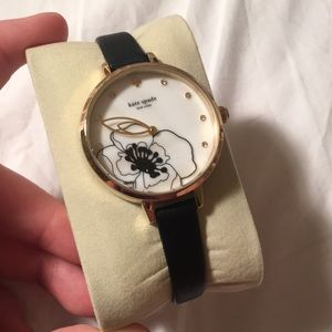 Kate Spade thin band watch with marble/floral face